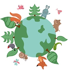 Globe with wild animals and plants vector