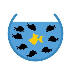 Goldfish and Piranha in Aquarium Evil Ocean vector image