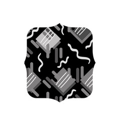 Grayscale quadrate with graphic memphis geometric vector