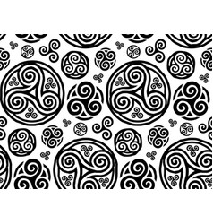 Grunge style hand drawn triskels seamless vector