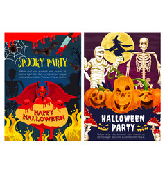 Halloween monster of horror night party invitation vector