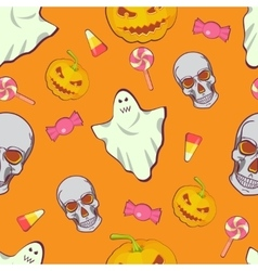 Halloween seamless bright kids cartoon pattern vector image
