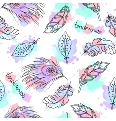 hand drawn feathers seamless pattern vector image