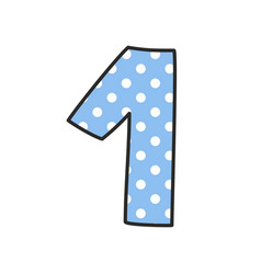 hand drawn number 1 with polka dots vector image