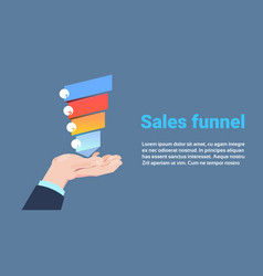 hand hold sales funnel with steps stages business vector image