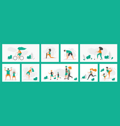 healthy people poster world health day greeting vector image