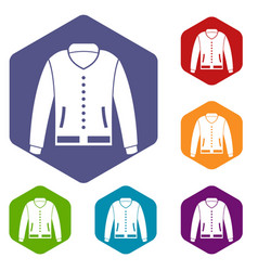 Jacket icons set hexagon vector