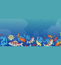 japanese carps koi fishes swimming in blue pond vector image