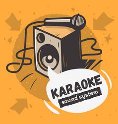 karaoke sound system music design with a speake vector image