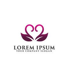 leaf coupleromantic logo wedding logo design vector image