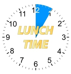Lunch time clock vector image