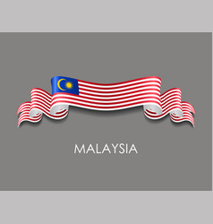 Malaysian flag wavy ribbon background vector