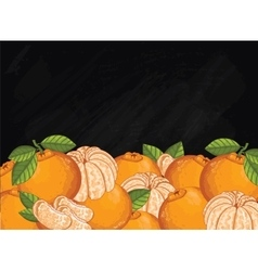 Mandarin fruit composition on chalkboard vector