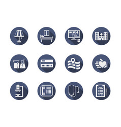 medical clinic blue round icons set vector image