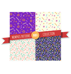 memphis abstract pattern collection vector image