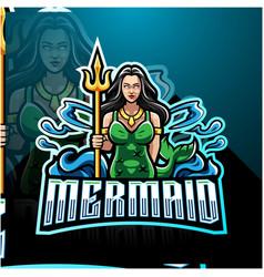 mermaid holding a trident esport mascot logo vector image