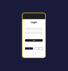 Mockup screen with login form vector