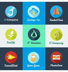 modern flat start up logo collection vector image