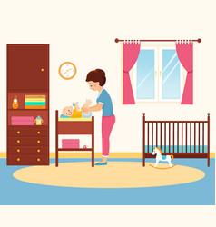 Mother changing diaper in baby room vector