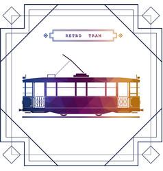 Multicolor retro tram car vector