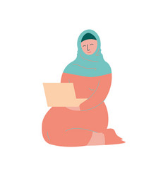 muslim woman in hijab working with laptop computer vector image