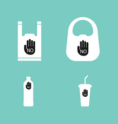 no plastic bag bottle cup background vector image