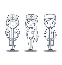 nurser with doctor professional specialists vector image