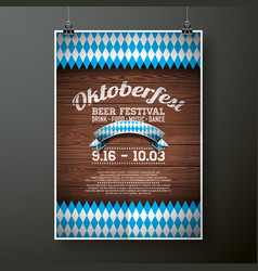 Oktoberfest poster with flag on wood texture vector