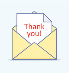 open letter with a thank you message vector image