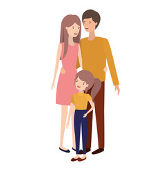 parents couple with daughter avatar vector image