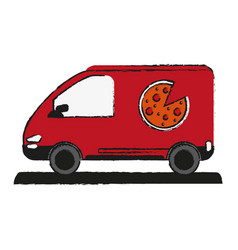 Pizza car draw vector