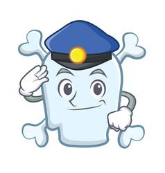 police skull character cartoon style vector image