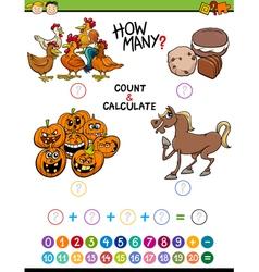 Preschool math educational activity vector
