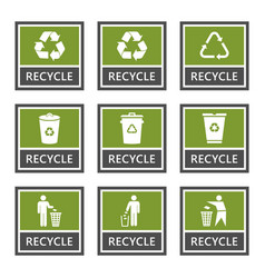 recycle signs and recycling icons set trash vector image