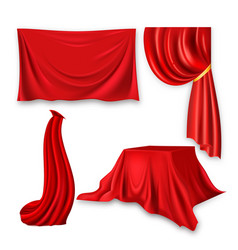 red silk cloth set fabric cloth waving vector image