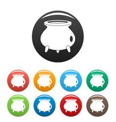 retro cauldron icons set color vector image