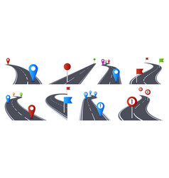 roadmap with pins bending asphalt roads vector image