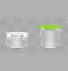 Round plastic food containers with clipping path vector
