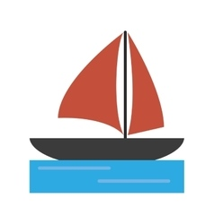 Sailboat navigation water recreation vector