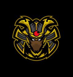 Samurai rat mascot logo vector