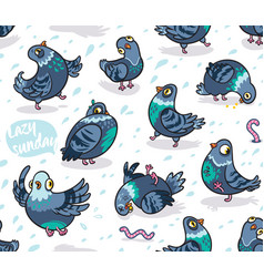 seamless pattern with cartoon pigeons design vector image