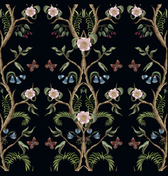 Seamless pattern with peony bushes and flowers in vector