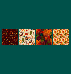 set autumn seamless patterns design for vector image