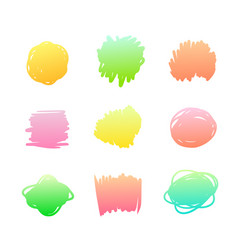 set gradient spots multicolored blot icons vector image