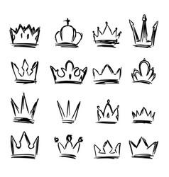 set hand drawn crown symbols design elements vector image