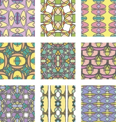 Set of multicolored abstract ornament seamless pat vector image