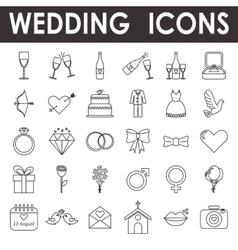 Set of wedding and love icons vector image
