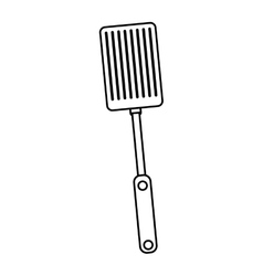 silhouette black with frying spatula vector image
