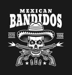 skull in sombrero with two crossed pistols emblem vector image