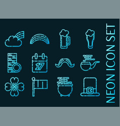 St set icons blue glowing neon style vector